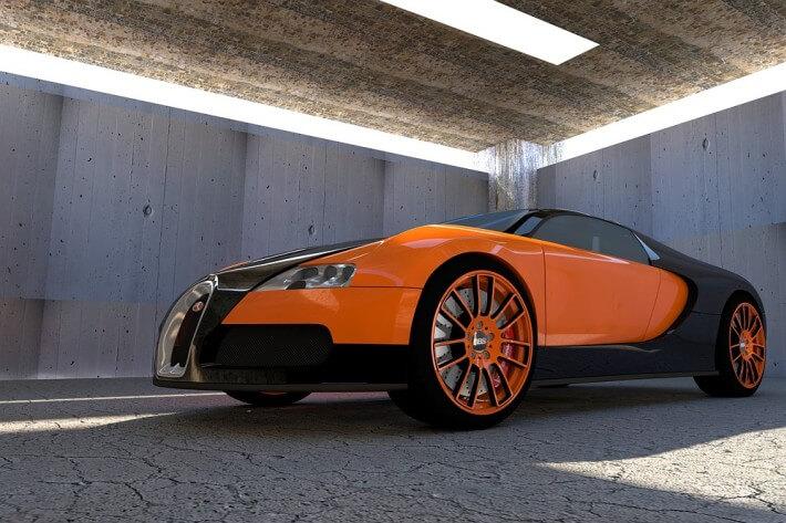 Narandžasti Bugatti na parkingu